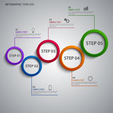 Info graphic with colorful abstract design rings template Stock Photography