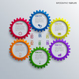 Info graphic with colorful design cogwheel template Stock Photography