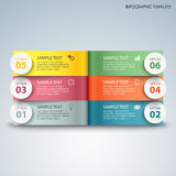 Info graphic with colorful pages above another template. Vector eps 10 Stock Images