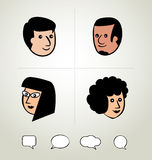 Info graphic design, businessman, Speech Bubbles Icon, head Stock Photography