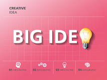 Info graphic design, creativity, bulb, big idea Royalty Free Stock Images
