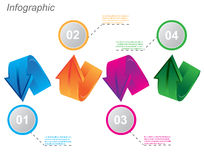 Info-graphic design templates in the form of a 3D arrow. Idea to display, ranking and statistics Royalty Free Stock Image