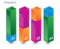 Info-graphic design templates in the form of a 3D box. Idea to display, ranking and statistics Royalty Free Stock Image