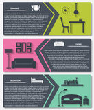 Info graphic of house interior vector banners Stock Photos