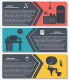 Info graphic of house interior vector banners Royalty Free Stock Photos