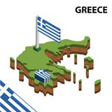 Info graphic  Isometric map and flag of GREECE. 3D isometric Vector Illustration royalty free illustration