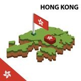 Info graphic  Isometric map and flag of HONG KONG. 3D isometric Vector Illustration stock illustration