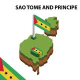 Info graphic  Isometric map and flag of  SAO TOME AND PRINCIPE. 3D isometric Vector Illustration. Info graphic  Isometric map and flag of SAO TOME AND PRINCIPE stock illustration
