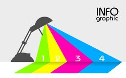 Info graphic with lamp and colored lights Stock Images