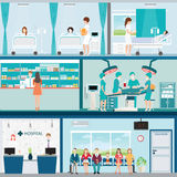 Info graphic of Medical hospital surgery operation room. Stock Image