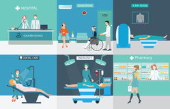 Info graphic of Medical services with doctors and patients. In hospitals, dental care, x-ray, emergency, pharmacy, health care conceptual vector illustration Royalty Free Stock Photos