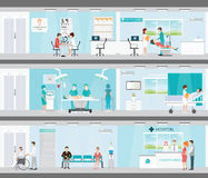 Info graphic of Medical services in hospitals. Info graphic of Medical services in hospitals, Patient And Doctor, interior building, dental care, emergency, ear Royalty Free Stock Photography