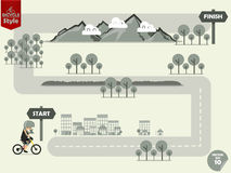 Info graphic of mountain bike riding on outdoor map to finish point. Extreme cycling sport info graphic Royalty Free Stock Photography