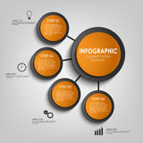 Info graphic with orange and black design circles template Stock Photos