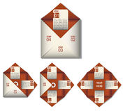 Info graphic paper shape in red. Info graphic with unfolded paper shape in red color with label inside Stock Photos