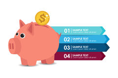 Info graphic piggy bank (dollar). Info graphic with a piggy bank and dollar. Vector illustration Stock Image