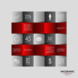 Info graphic with red squares elements poster Stock Image