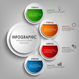 Info graphic with round colored labels design template Royalty Free Stock Photo