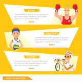 Info graphic sport boxing, volleyball and cycling Stock Photography