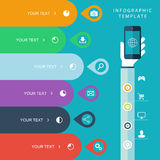 Info graphic template with hand holding phones for marketing plan, sales chart illustration, work flow layout, diagram. Royalty Free Stock Images