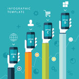 Info graphic template with hands holding phones for marketing plan, sales chart. Info graphic template with hands holding phones for marketing plan, sales chart Stock Photography