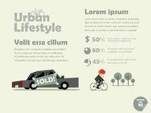 Info graphic of urban lifestyle of bicycle transportation Royalty Free Stock Photography