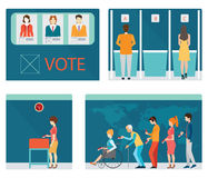 Info graphic of Voting booths with people waiting in line. Royalty Free Stock Photography