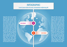 Info graphic with world map and 2 sign arrows Stock Photos