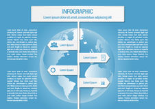Info graphic with world map and 4 sign arrows Royalty Free Stock Images