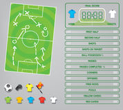 Info graphics for football soccer game ,icons,game elements,scoreboard Royalty Free Stock Image