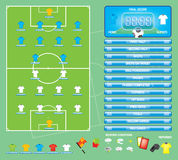 Info graphics for football soccer game ,icons,game elements,scoreboard Stock Images
