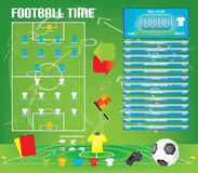 Info graphics for football soccer game ,icons,game elements,scoreboard Royalty Free Stock Images