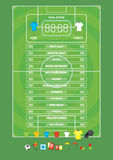 Info graphics for football soccer game ,icons,game elements,scoreboard Royalty Free Stock Photo