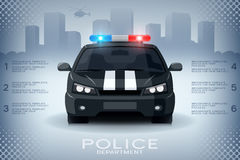 Info-graphics with generic police car and skyscrapers Royalty Free Stock Images