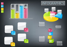 Info graphics set. Info graphics .chart graph and pie chart stock illustration