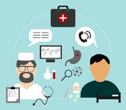 Info graphics are sick and the doctor and medical icons Stock Photography