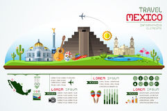 Info graphics travel and landmark mexico template design. Stock Photography
