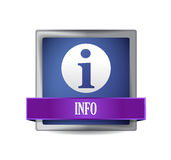 Info icon glossy blue reflected square button Royalty Free Stock Photo
