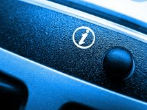 Info icon on keyboard. Closeup of desktop keyboard stock images
