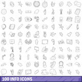 100 info icons set, outline style Stock Photo