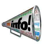 Info Information Bullhorn Megaphone Update Alert. A megaphone or bullhorn featuring the word Info and many other words related to communication such as update Royalty Free Stock Images