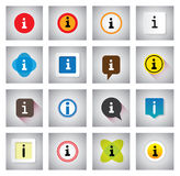 Info or information vector icons set on speech bubbles or chat s Stock Photos