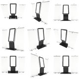 Info LCD screen floor stand with roll-up banners set. LCD Screen Floor Stand with Roll-Up Set. Blank Trade Show Booth Collection. 3d render of lcd screen  on Stock Photo