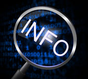 Info Magnifier Indicates Knowledge Searches And Help. Magnifier Info Showing Answer Magnifying And Advisor Stock Photo