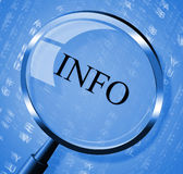 Info Magnifier Means Faq Magnification And Information Stock Photo