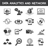 Info management, data analytic icons. Set of 16 data analytic icons, big data icons stock illustration
