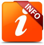 Info orange square button red ribbon in corner. Info isolated on orange square button with red ribbon in corner abstract illustration Stock Photography