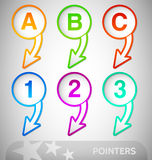 Info Pointers with numbers and Letters Stock Photo