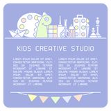 Info poster concept of creative studio for kids. Suitable for advertisement or placard decor royalty free illustration