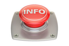 Info red button, 3D rendering. Isolated on white background Stock Photography